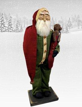 Nana's Farmhouse Primitive Santa in Union Suit holding Teddy Bear