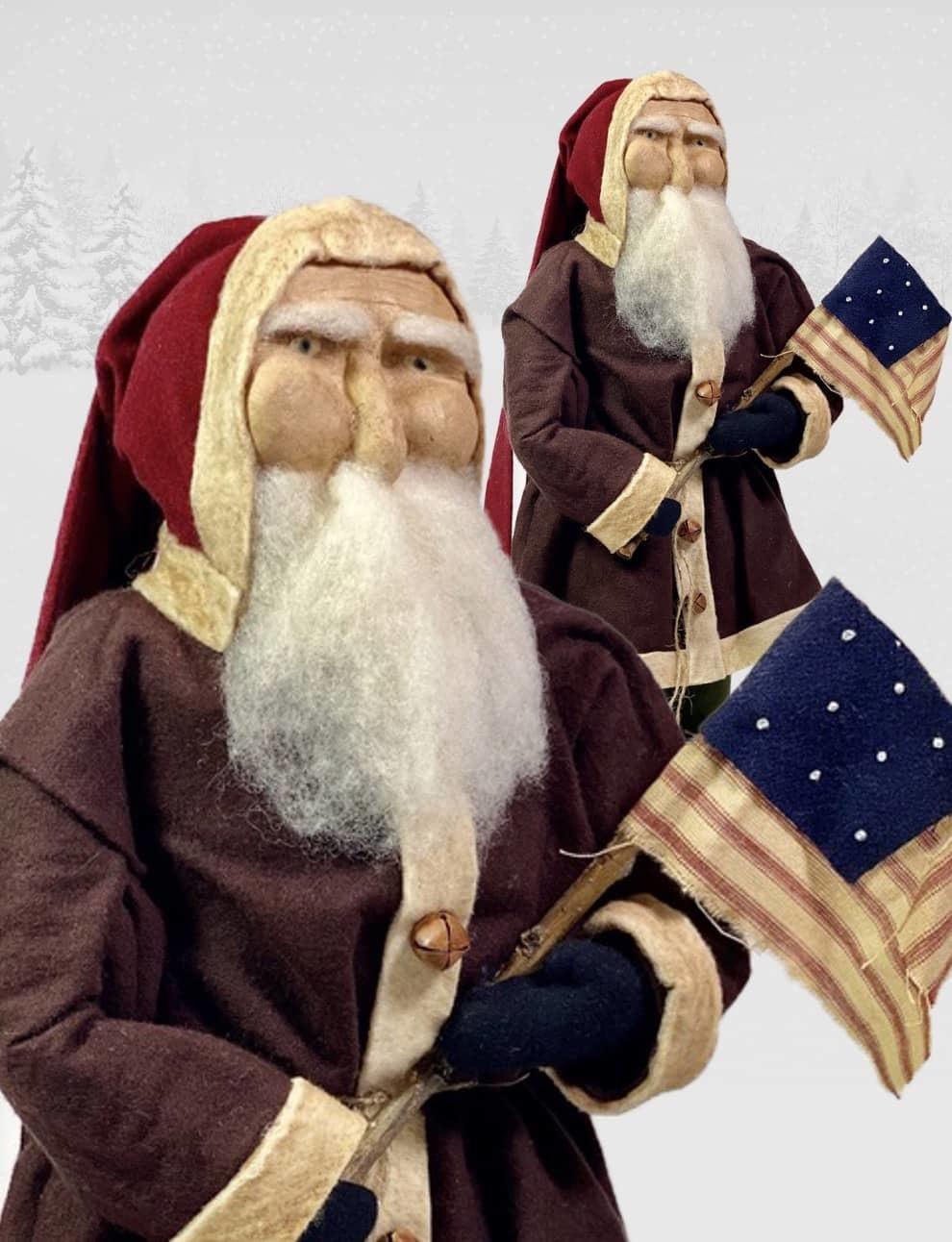 "Nana's Farmhouse Primitive Santa holding Early American Flag - 17"" T"