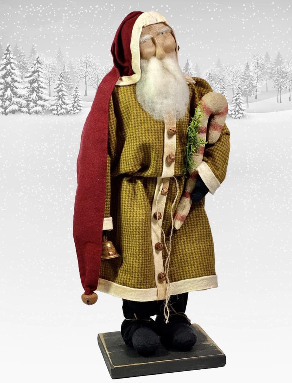 """Nana's Farmhouse Primitive Santa in Mustard Coat with Candy Cane & Handbell - 21"""" T"""