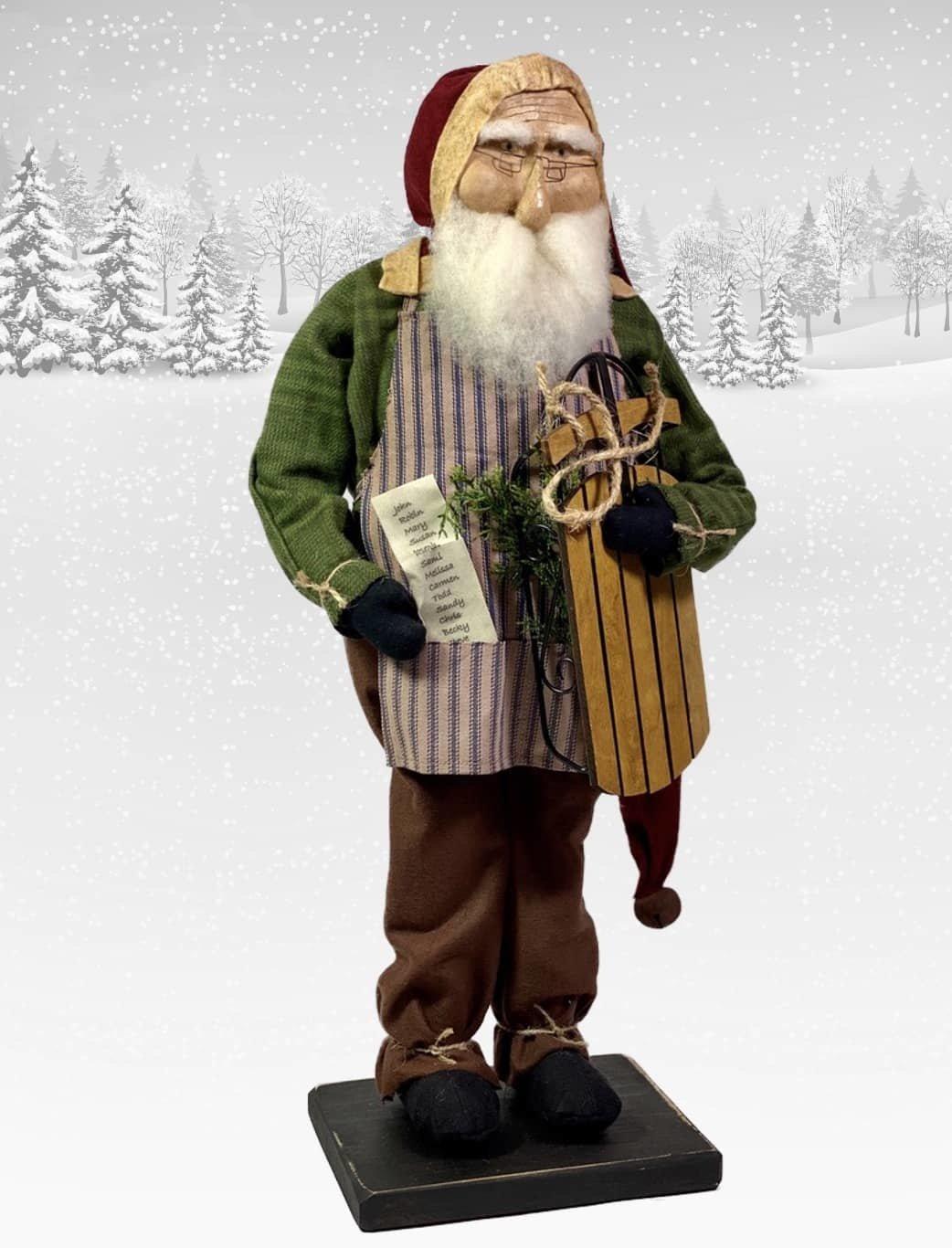 "Nana's Farmhouse Primitive Santa with Naughty & Nice List - 21"" T"
