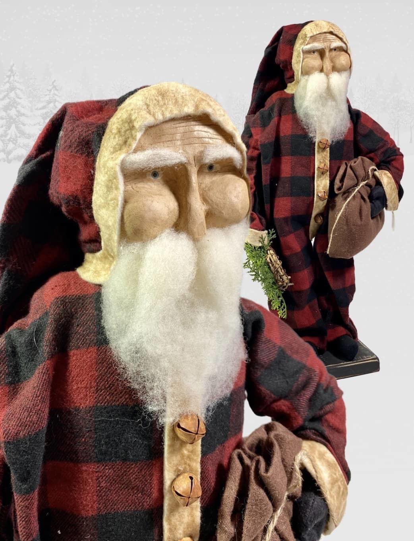 "Nana's Farmhouse Primitive Santa in Buffalo Check - 17"" T"