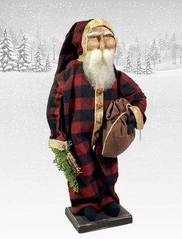 Nana's Farmhouse Primitive Santa in Buffalo Check