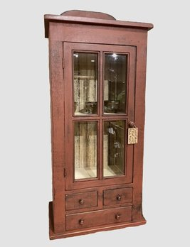 Nana's Farmhouse Curio Cabinet - Red Over Black