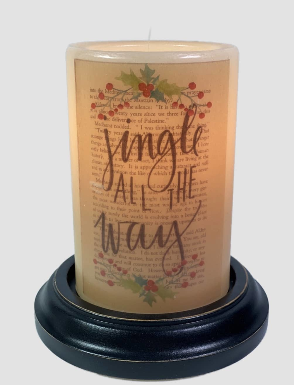 C R Designs Library Jingle Candle Sleeve