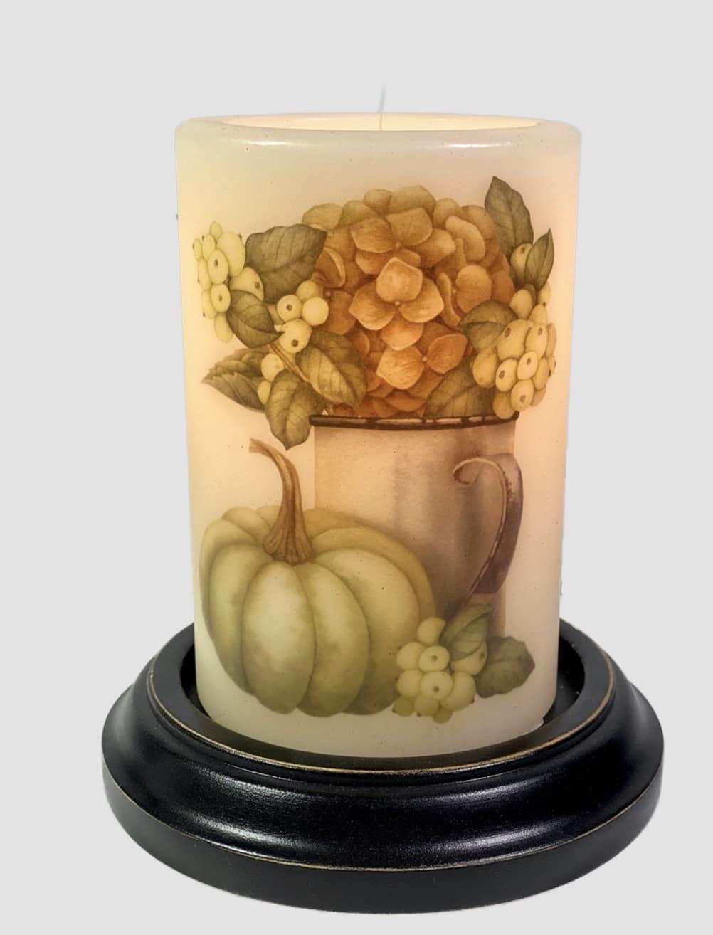 C R Designs Rusty Cup  Fall Hydrangea Candle Sleeve