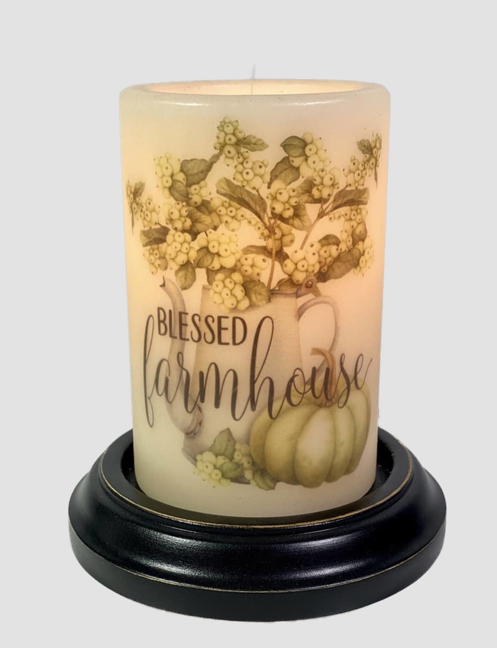 C R Designs Blessed Farmhouse Hydrangea Candle Sleeve