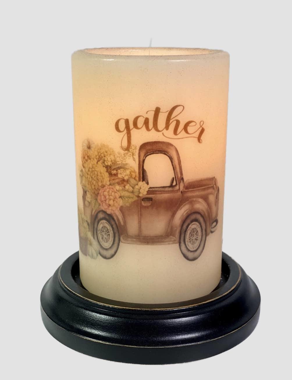 C R Designs Gather Hydrangea Truck Candle Sleeve