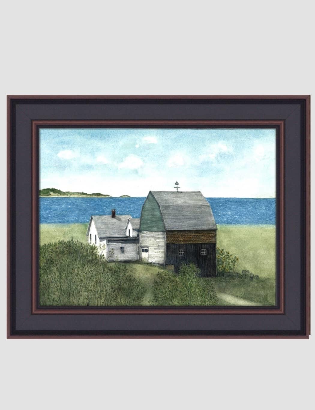 "Bonnie Fisher Sail Boat Barn By Bonnie Fisher - 16"" x 12"""