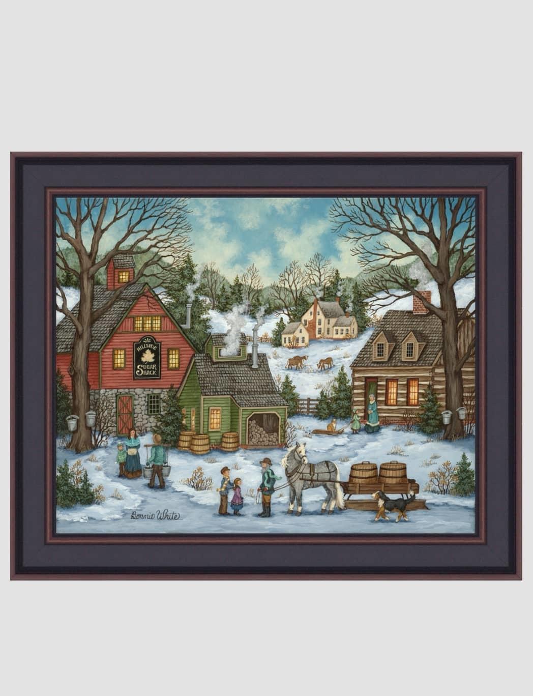 Bonnie White Hillside Sugar Shack Print by Bonnie White