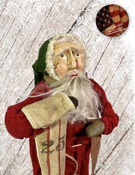 Nana's Farmhouse Primitive Santa with Ticking Stocking
