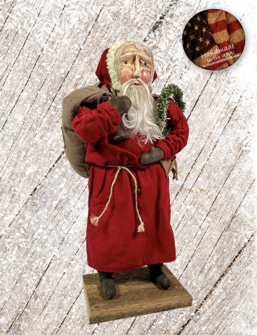 "Nana's Farmhouse Primitive Santa with Toy Bag & Wreath - 24"""