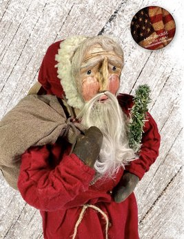 Nana's Farmhouse Primitive Santa with Toy Bag & Wreath