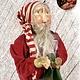 "Nana's Farmhouse Primitive Santa Red Union Suit & Lantern - 19"" T"