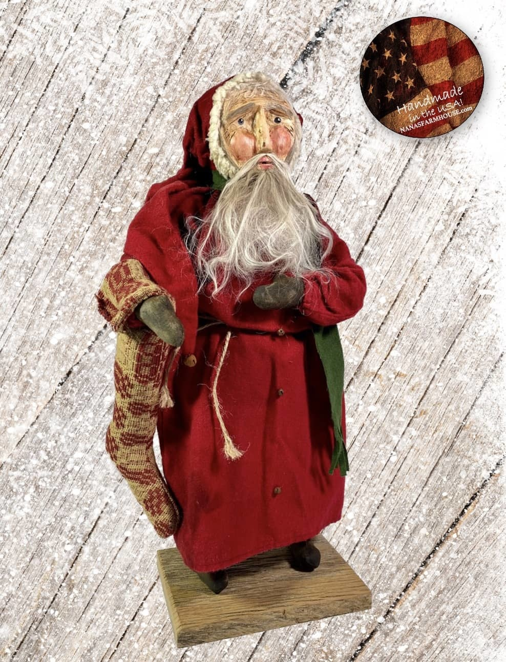 "Nana's Farmhouse Primitive Santa with Coverlet Stocking - 19"" T"