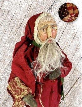 Nana's Farmhouse Primitive Santa with Coverlet Stocking
