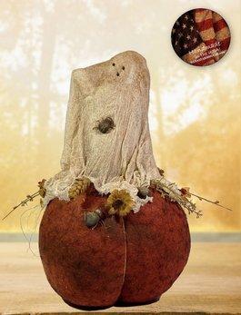 Nana's Farmhouse Sal the Ghost on Pumpkin