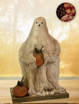 Nana's Farmhouse Spook the Ghost Holding Pumpkin