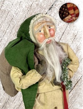 Nana's Farmhouse Primitive Santa with Toy Bag