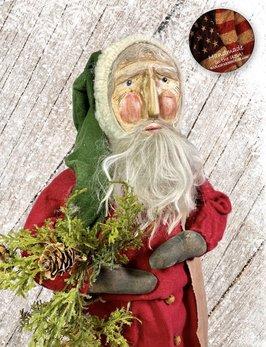 Nana's Farmhouse Primitive Santa with Wreath & Red Robe