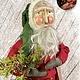 "Nana's Farmhouse Primitive Santa with Wreath & Red Robe - 25"" T"