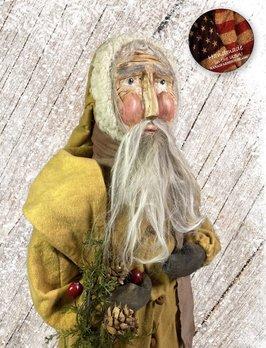 Nana's Farmhouse Primitive Santa with Wreath Mustard Robe