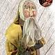 "Nana's Farmhouse Primitive Santa with Wreath Mustard Robe - 25"" T"