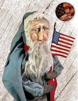 Nana's Farmhouse Primitive Santa with Flag Faded Blue Coat
