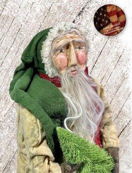 Nana's Farmhouse Primitive Santa Holding Tree Dirty Cream Robe