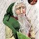 """Nana's Farmhouse Primitive Santa Holding Tree Dirty Cream Robe - 20"""" T"""