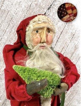 Nana's Farmhouse Primitive Santa Holding Tree Red Robe