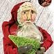 "Nana's Farmhouse Primitive Santa Holding Tree Red Robe - 20"" T"
