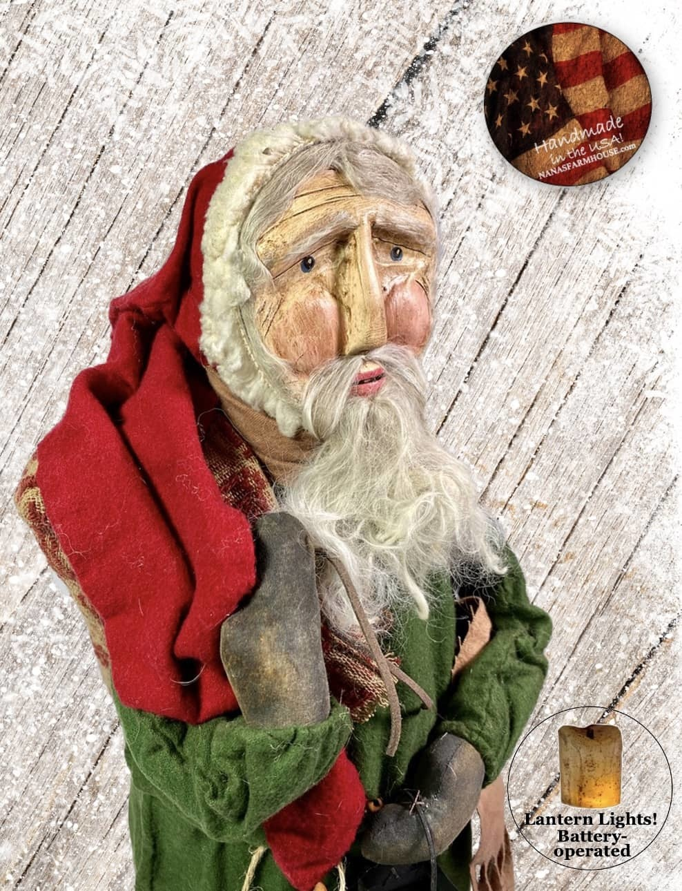 "Nana's Farmhouse Primitive Santa with Lighted Lantern Green Robe - 25"" T"