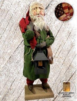 Nana's Farmhouse Primitive Santa with Lighted Lantern Green Robe