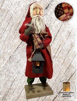 Nana's Farmhouse Primitive Santa w/Lighted Lantern Red Robe
