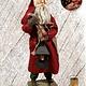 "Nana's Farmhouse Primitive Santa w/Lighted Lantern Red Robe - 25"" T"
