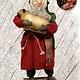 "Nana's Farmhouse Primitive Santa with Sheep Red Robe - 19"" T"
