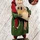"""Nana's Farmhouse Primitive Santa with Sheep Green Robe - 19"""" T"""