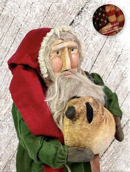 Nana's Farmhouse Primitive Santa with Sheep Green Robe