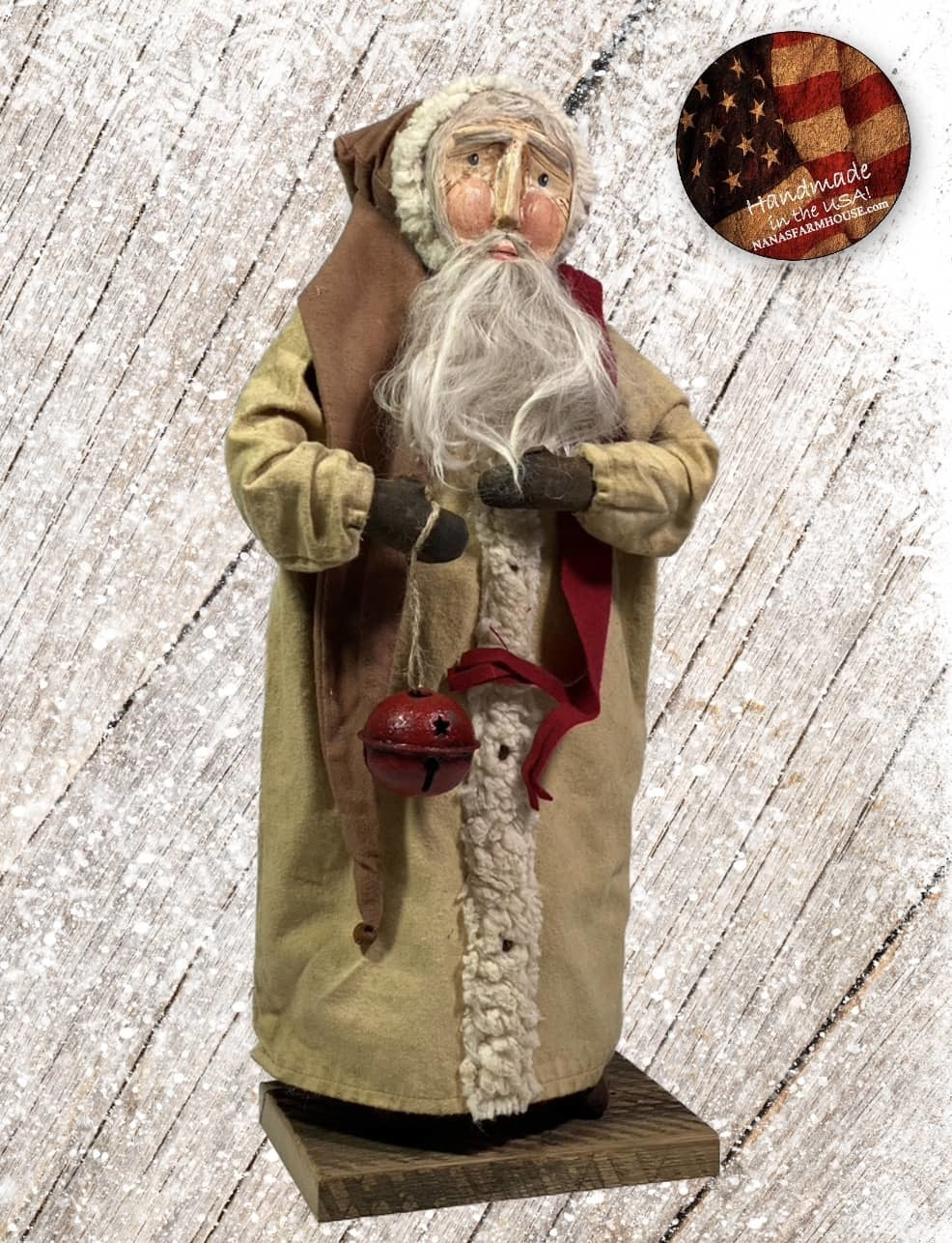 "Nana's Farmhouse Primitive Santa with Bell and Cream Robe - 19"" T"