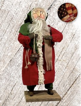 Nana's Farmhouse Primitive Santa with Bell and Red Robe