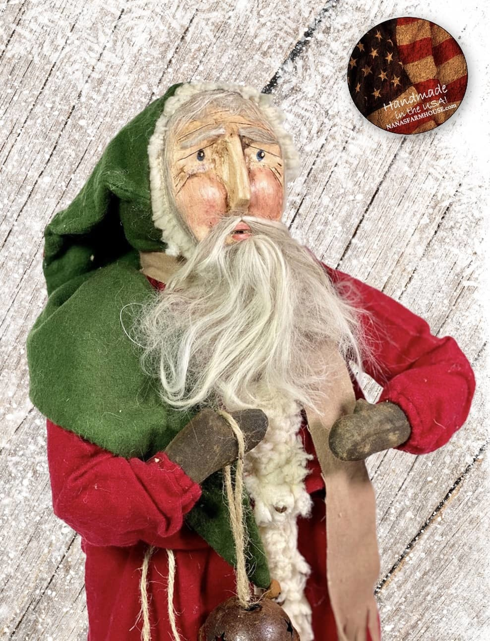 """Nana's Farmhouse Primitive Santa with Bell and Red Robe - 19"""" T"""
