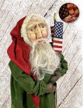 Nana's Farmhouse Americana Primitive Santa in Green Robe