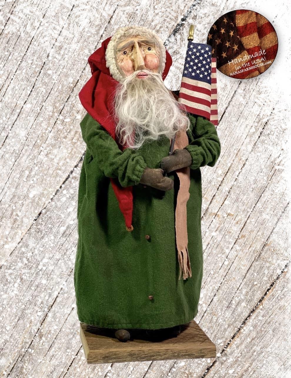 """Nana's Farmhouse Americana Primitive Santa in Green Robe - 19"""" T"""