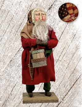Nana's Farmhouse Primitive Santa with Hat Boxes  and Red Robe