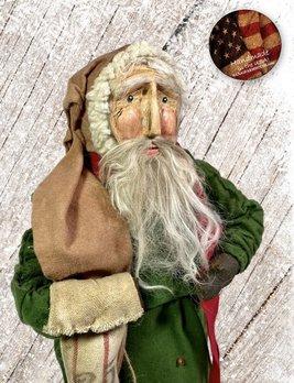 Nana's Farmhouse Primitive Santa with Striped Stocking