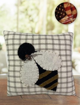 Nana's Farmhouse Grey Checked Bee Pillow