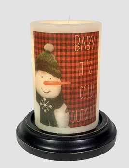 C R Designs Cold Snowman Red Candle Sleeve - Vanilla