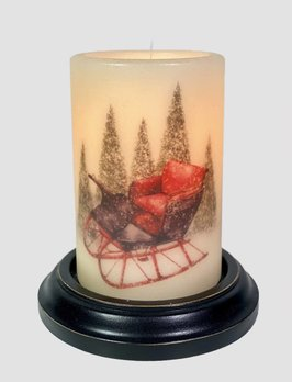 C R Designs Winter Snowy Sled Candle Sleeve - Antique Vanilla