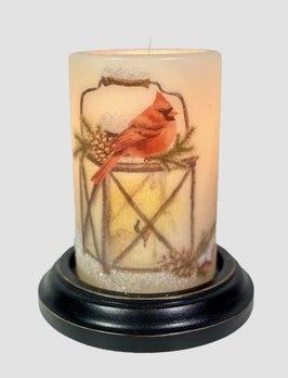 C R Designs Lantern Winter Cardinal Candle Sleeve - Antique Vanilla