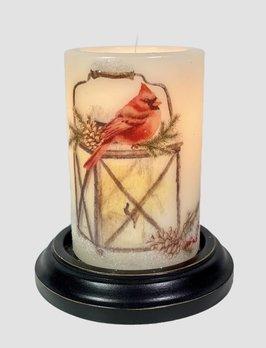 C R Designs Lantern Winter Cardinal Candle Sleeve - Vanilla